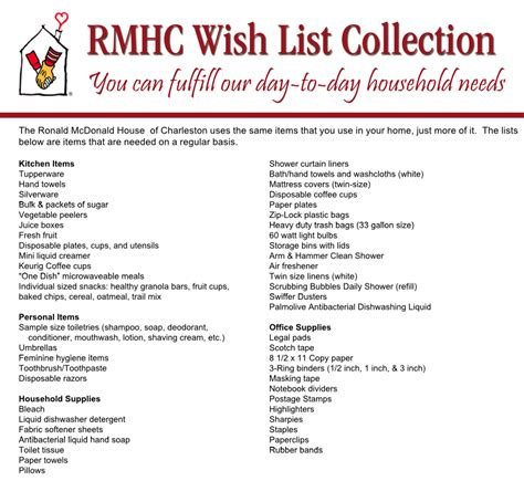 8 Items From My Wish List by Wish List Ronald Mcdonald House Charleston Sc