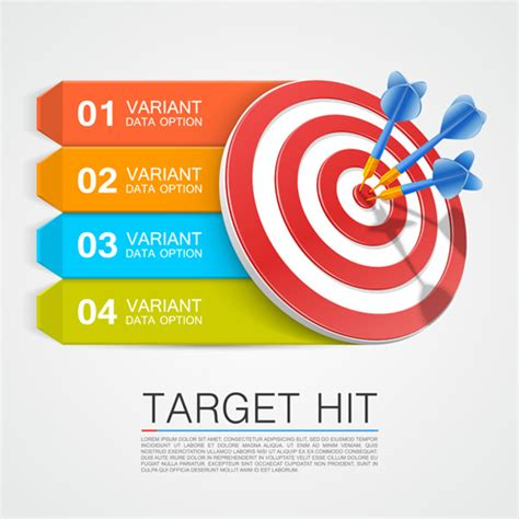 Target hit with infographics vector 02   Vector Business