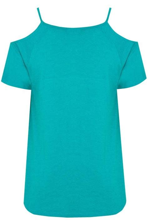Letter Casual Top 40805 teal blue cold shoulder jersey top plus size 16 to 36