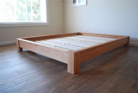 profile platform bed simple bed frame solid hardwood
