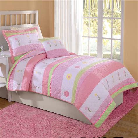 pink comforter sets twin pink white tara stripe flower girls bedding twin quilt