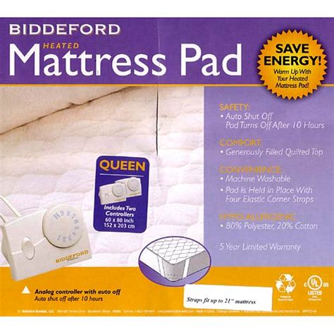 biddeford quilted electric heated mattress pad