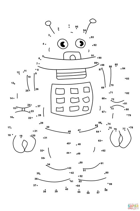 Alphabet And Number Wall Stickers robot dot to dot free printable coloring pages