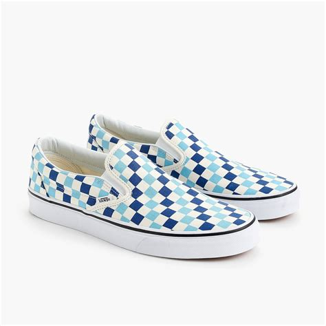 light blue slip on vans s vans 174 slip on sneakers in blue checkerboard s