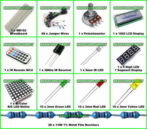 projects with resistors and capacitors electronic project starter kit e basic arduino beginners kit breadboard 1602 led ebay