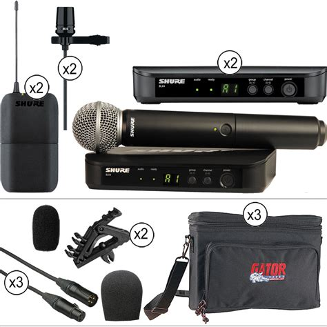 Mic Wireless Shure Blx 100 Handheld Pro shure blx handheld and dual lavalier with accessories wireless