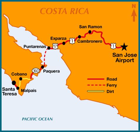map of san jose international airport costa rica travel information how to get to surf vista villas in