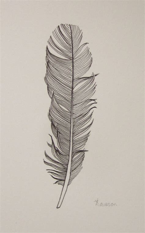 feather tattoo to draw black feather 3 original ink drawing