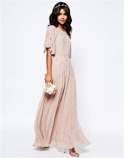Sleeve Maxi Dress lyst asos wedding embellished flutter sleeve maxi dress