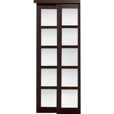 Glass Closet Doors Home Depot Truporte Grand 72 In X 80 In 2240 Series Composite Espresso 5 Lite Tempered Frosted Glass