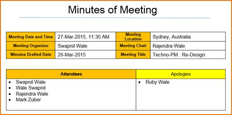 minutes exle templates 12 meeting minutes template excel authorizationletters org