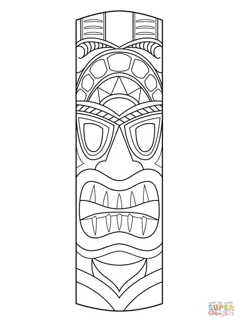 tiki mask coloring page free printable coloring pages
