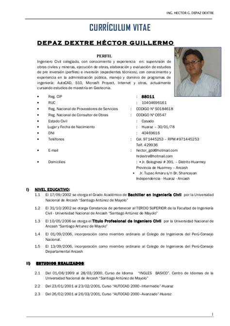 Modelo Curriculum Vitae Ingeniero Quimico Curr 237 Culum Vitae Hdd 09 01 2015