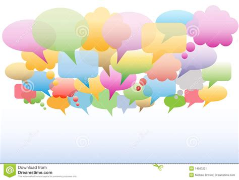 social media speech bubbles colors background stock image