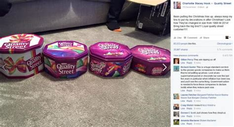 product of the streets nestle responds to shrinking quality street tin sizes