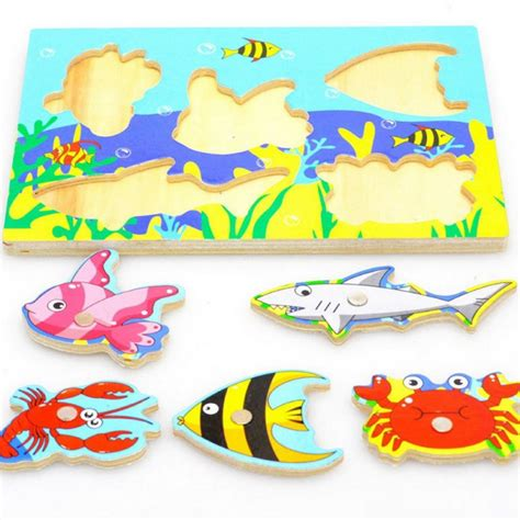 Educational Toys Fishing 3D Puzzle Toy Wooden Magnetic For Toddlers Kid Children   eBay