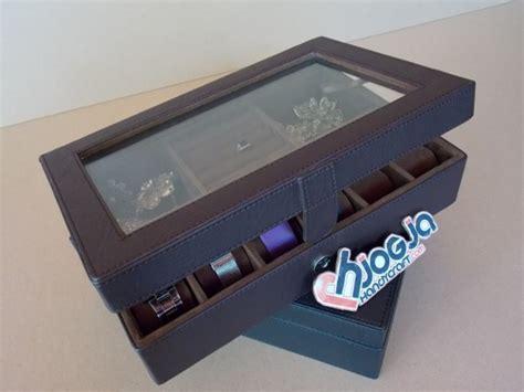 Kotak Tempat Wadah Perhiasan Cantik Merah brown 3in1 boxes organizer kotak jam kombinasi