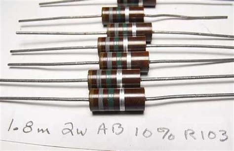 1 megohm resistor 1 watt 1 8 meg ohm 2 watt allen bradley ab carbon resistors resistors electrical parts