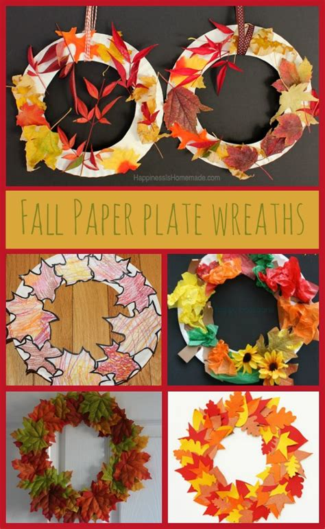 Autumn Paper Crafts - paper plate autumn fall leaf wreaths in the madhouse