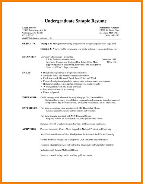 Resume Exles For College Undergraduate 6 Undergraduate Student Cv Template Packaging Clerks