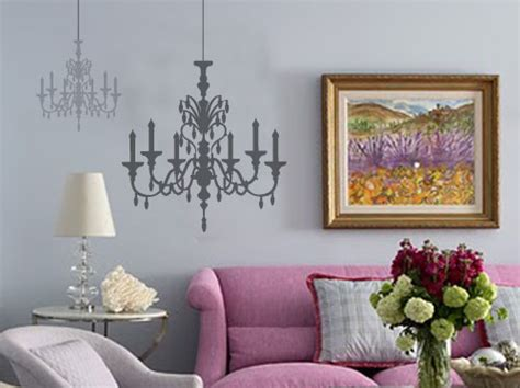 Hanging Wall Decorations Interior by Wall Decals Hanging Chandeliers Vinyl Wall Sticker