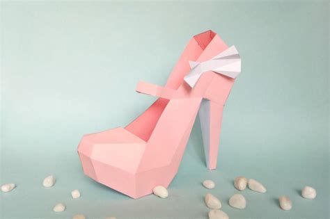 high heel shoe template craft diy paper model high heel shoe 3d papercraft by