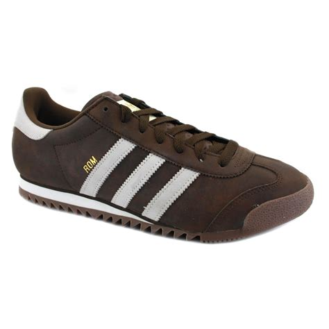 brown adidas sneakers adidas originals rom mens leather lace up trainers v22778
