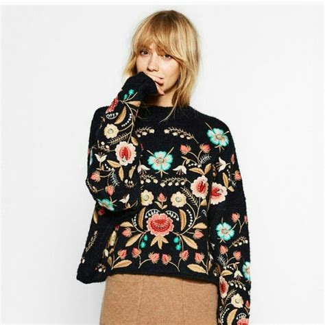 Neck Embroidered Sweater sweaters embroidered