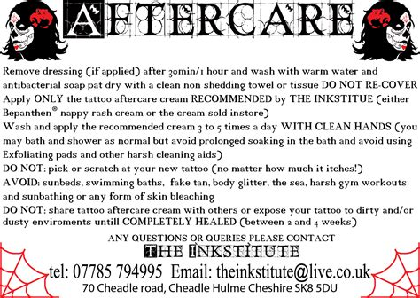 after tattoo care after care advice manchester studio