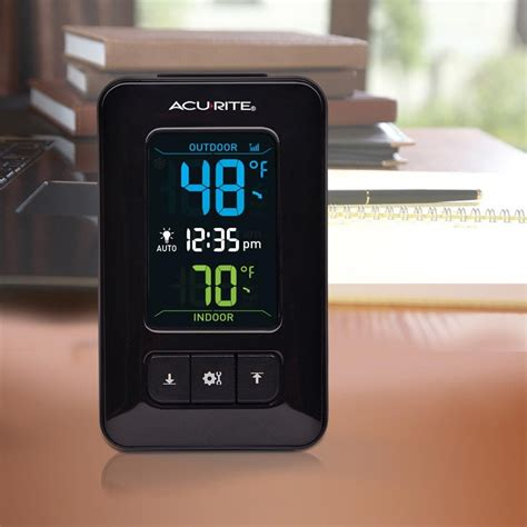 Termometer Outdoor acurite color digital indoor outdoor thermometer with clock