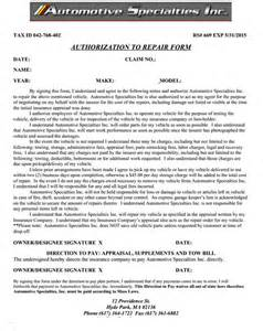 authorization to repair form for boston auto repair