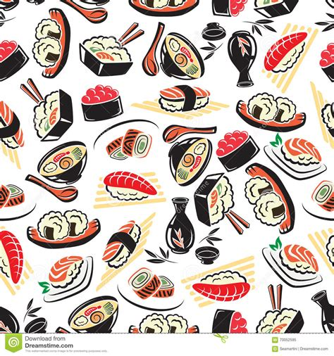 japanese meal pattern seamless pattern of traditional japanese cuisine stock