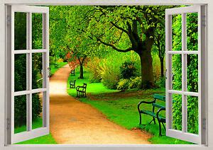 beauty nature walk  green trees  scene window sticker