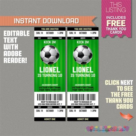 Soccer Ticket Invitation With Free Thank You Card Soccer Birthday Soccer Party Invitation Free Football Ticket Template