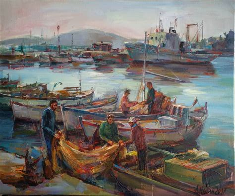 boat oil painting fishing boats seascape oil painting angelina nedin art