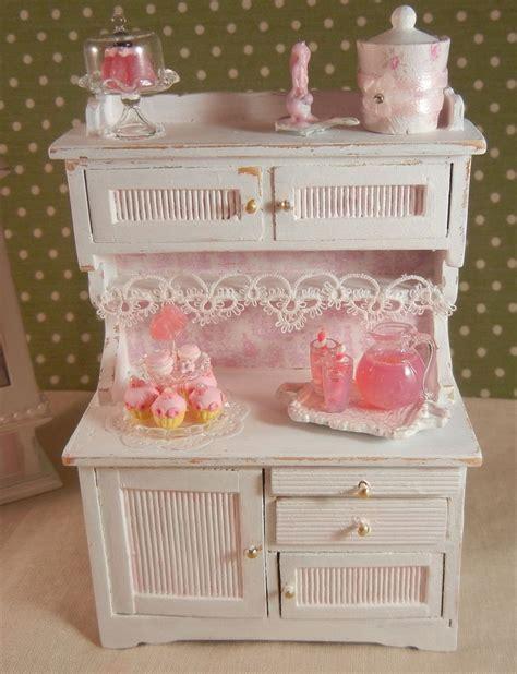 dollhouse miniature shabby chic kitchen hutch display
