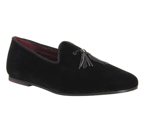 mens ted baker thrysa slipper loafers black velvet formal