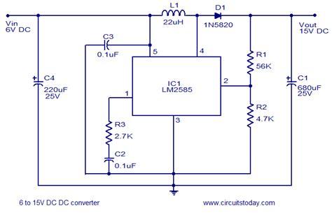 dc dc boost converter circuit diagrams 6 to 15 volt dc converter electronic circuit