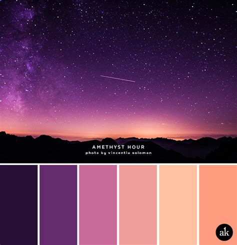 a sky inspired color palette purple amethyst orange roygbiv