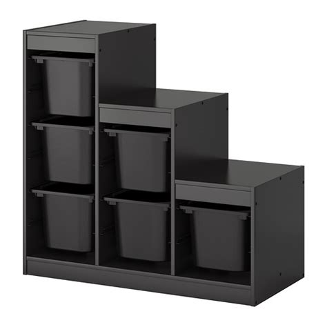 trofast storage combination with boxes black ikea
