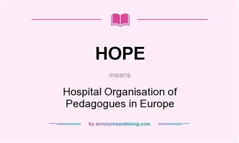 What Does Ccb Stand For by Hope Hospital Organisation Of Pedagogues In Europe In