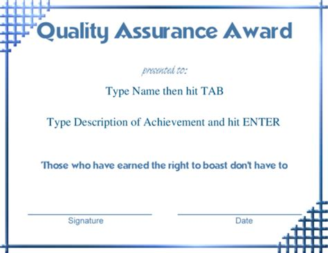 quality assurance certificate template award certificate templates