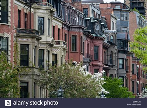 homes on beautiful commonwealth ave in boston ma stock