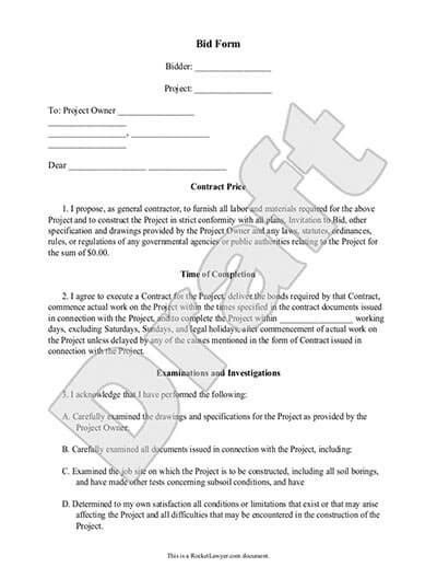 Bid Form Job Contractor Bid Forms Rocket Lawyer Government Contract Bid Template