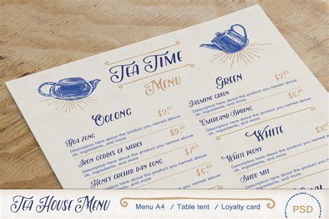 tea house menu tea house menu pack brochure templates on creative market