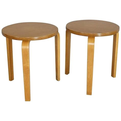 Stool End Table by Pair Of Alvar Aalto Stack Stools Side Tables At 1stdibs