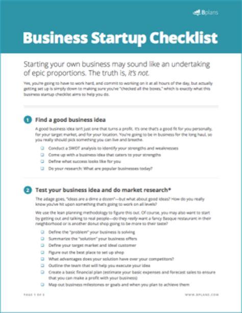 Business Startup Checklist Free Download Bplans Business Startup Checklist Template