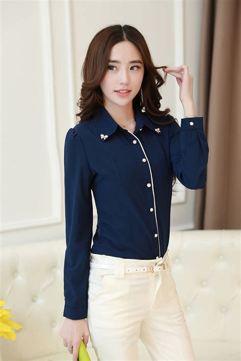 Blouse Korea Fashion Casual 2015 new korean style fashion casual diamonds collar chiffon blouse sleeve