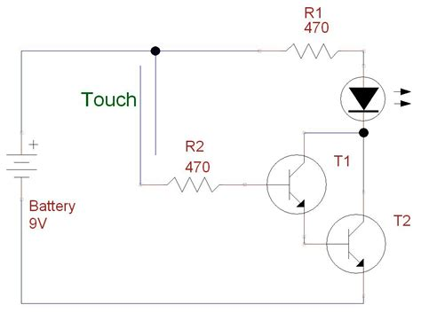 transistor darlington circuit darlington transistor touch switch simple science project