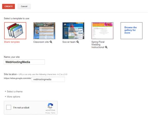design google site template getting started with google web hosting